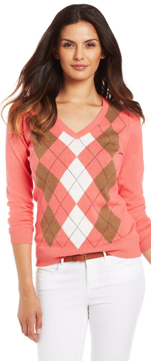 Caribbean Joe Women's Cotton Argyle Sweater