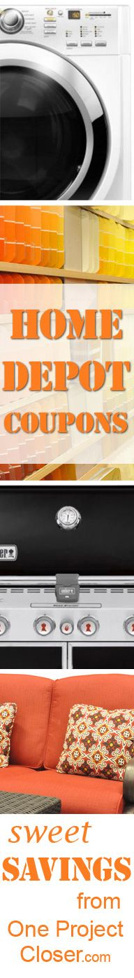 Home Depot Coupons! Great for buying appliances, patio furniture, Lawn care items, grills, and more!