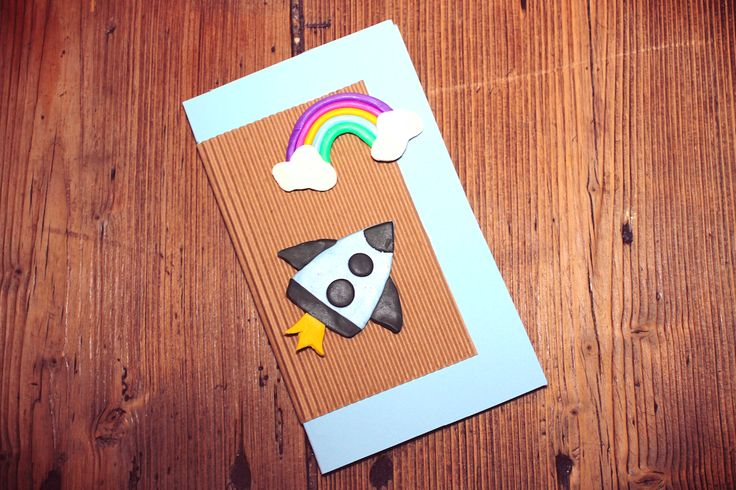 Handmade Card with Rocket and Rainbow.