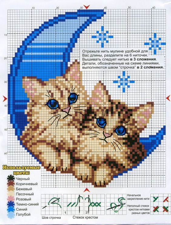 Cross-stitch Cats.. color chart isn't in English, just use the colors on pattern chart as your guide.