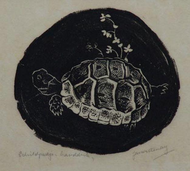 Schildpadje - steendruk - Jan Hendrik Willem Wittenberg, 1886-1963 Nederland