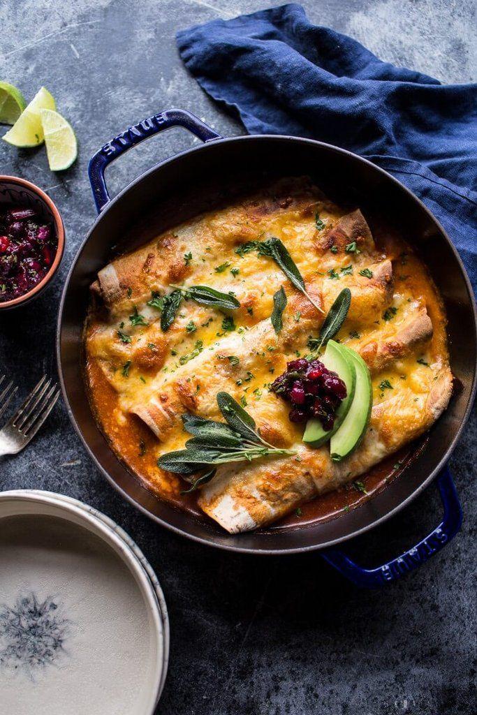Get the recipe: green chile butternut squash turkey enchiladas with crispy sage               Image Source:...