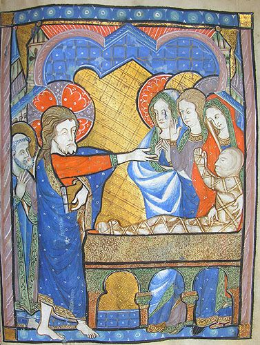 the Raising of Lazarus - MS K.26, one of a sequence of 46 Biblical illustrations (c.1270-80) inserted at the front of a fourteenth-century Psalter (English)