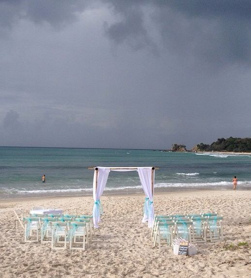Clarkes Beach on a rainy day in Byron Bay