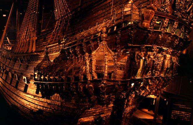 The Swedish Warship Vasa sank on her maiden voyage in Stockholm 1628 and was salvaged in 1961. It's the only 17th century ship recovered almost intack in the world. The Vasa a 226-foot, 64-cannon ship could fire a combined weight of more than 650 pounds of shot from one side.