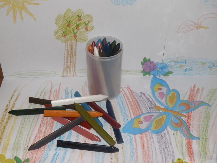 VOSKOVÉ PASTELKY | Voskové pastelky tříhranné -včelí vosk 12 kusů | E-shop Rodas