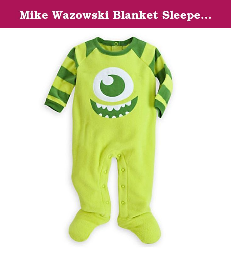 Mike Wazowski Blanket Sleeper for Baby (12-18M). Mike Wazowski appliqué Raglan striped sleeves Super soft fleece Ribbed collar and cuffs Four snap placket at back Row of snaps on inside leg Non-skid feet Flame resistant.