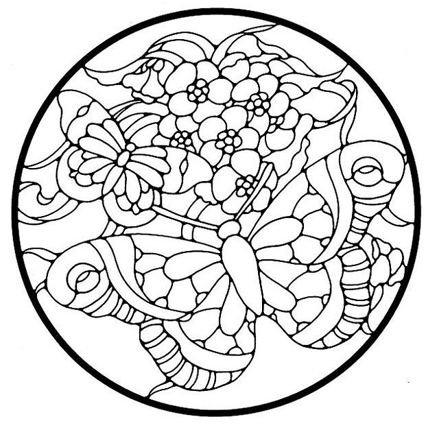 simple stained glass coloring pages - photo#23