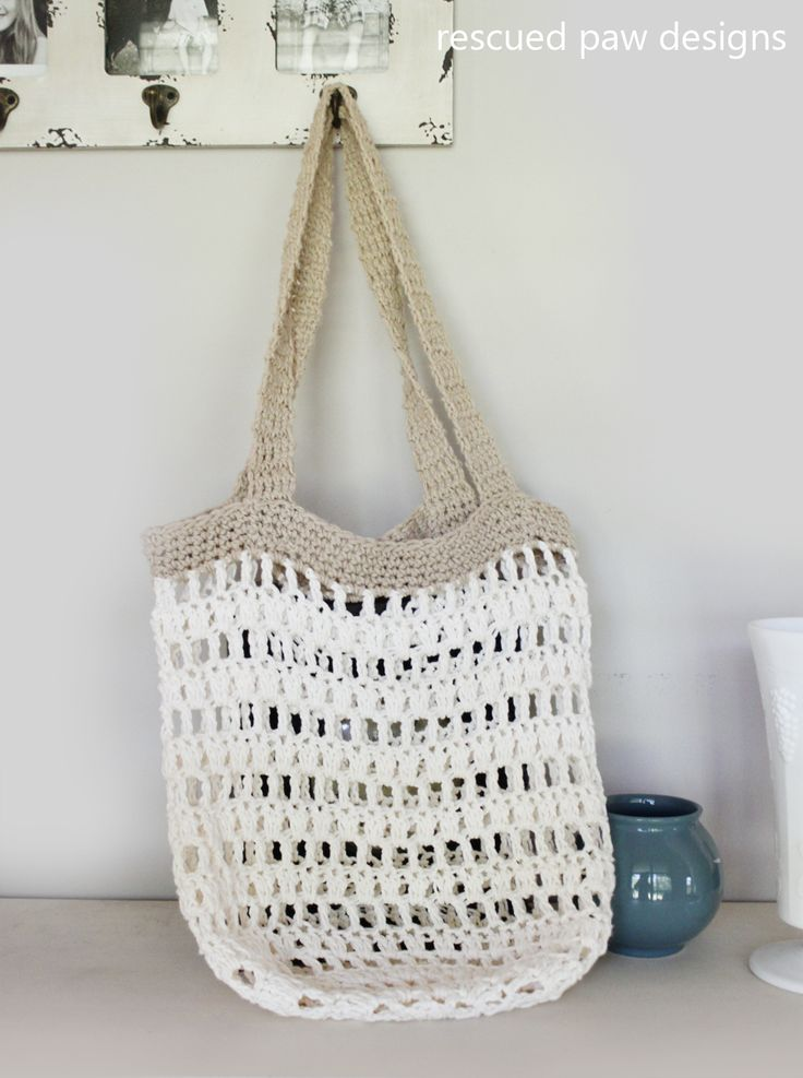 Market Tote Bag Crochet Pattern from Rescued Paw Designs #diy #fall #crochet
