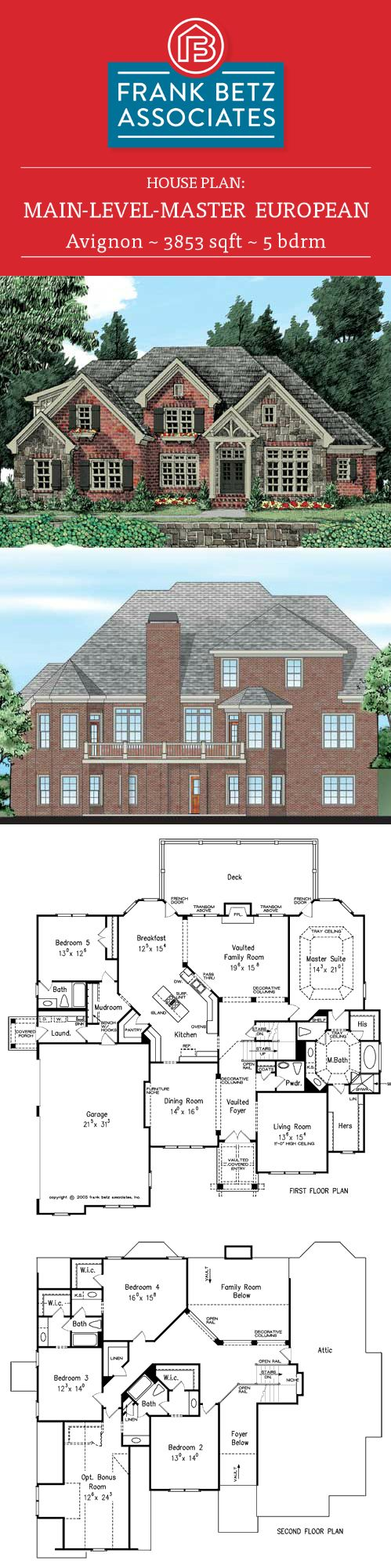 Avignon 3853 sqft 5 bdrm european house plan design by frank betz associates