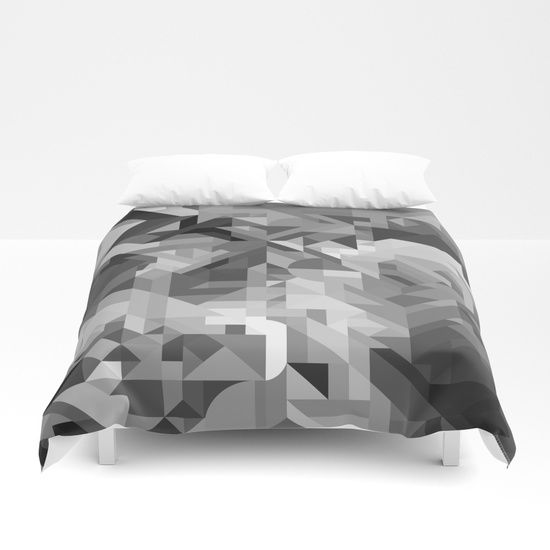 Cover yourself in creativity with our ultra soft microfiber duvet covers. Hand sewn and meticulously crafted, these lightweight duvet covers vividly feature your favorite designs with a soft white reverse side. Black white gray scale dark light geometry geometric triangle square rectangle parallelogram detailed detail texture intricate modern contemporary graphic design trend trendy minimal minimalistic minimalism abstract boho bohemian retro vintage dreamy