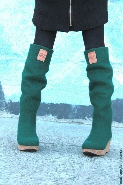"""Обувь ручной работы. Ярмарка Мастеров - ручная работа. Купить Валяные ботфорты """"Style """"mari_tyme"""". Handmade. Морская волна, ботфорты"""