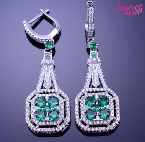 Cercei eleganti din argint cu zirconiu verde