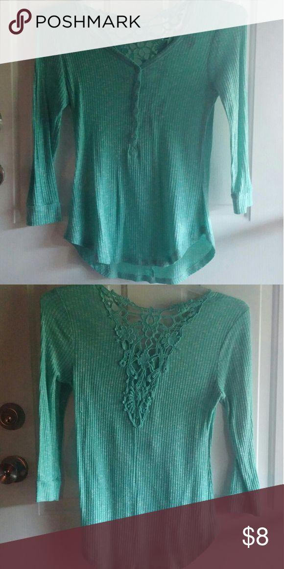 Teal shirt Soft teal green shirt cute back detailing Tops Tees - Long Sleeve
