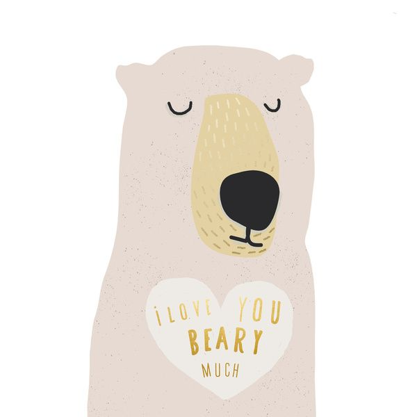 i LOVE YOU BEARY MUCH WITH TEXT Art Print