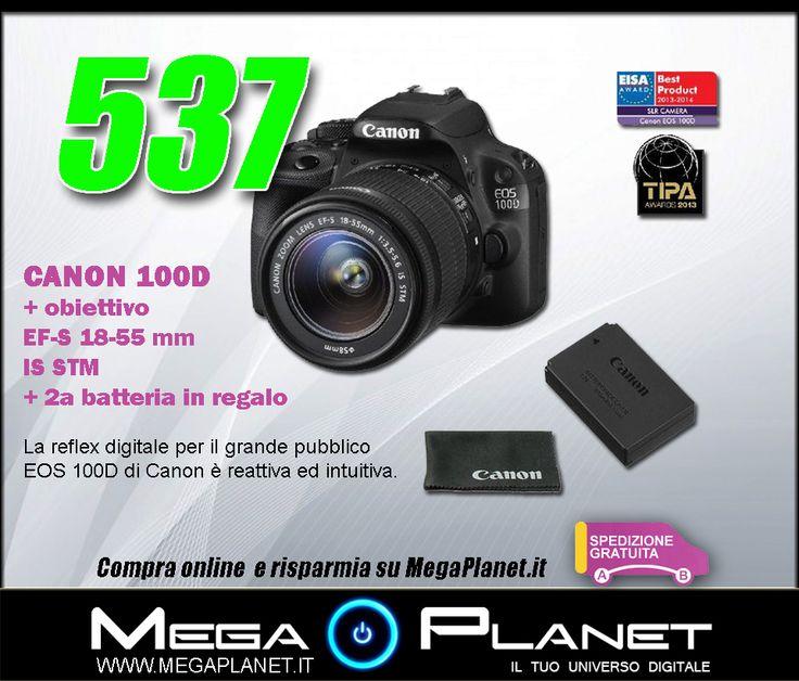 La reflex digitale per il grande pubblico EOS 100D di Canon è reattiva ed intuitiva. Questa reflex dispone di un sensore CMOS da 18 megapixel e di un sistema di autofocus continuo in modalità video, per darti un'immagine sempre perfetta. Viene venduto con un obiettivo stabilizzato da 18-55. scoprila subito:   http://www.megaplanet.it/fotocamere-reflex-per-tutti/12443-canon-100d-obiettivo-ef-s-18-55-mm-is-stm-2a-batteria-in-regalo-8714574603711.html