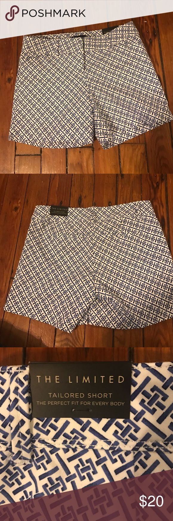 """Printed Tailored Shorts Blue/White Printed Tailored shorts, 4"""" inseam. The Limited Shorts"""