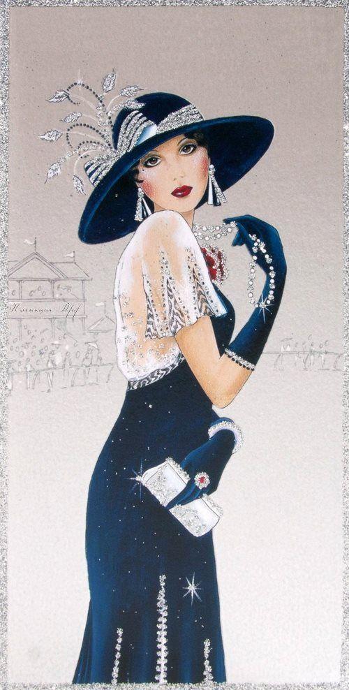 Clintons Art Nouveau Lady birthday card