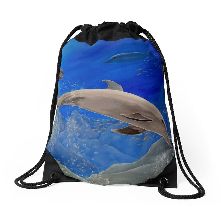 Drawstring Bag,  aqua,blue,beautiful,fancy,unique,trendy,artistic,awesome,fahionable,unusual,accessories,for sale,design,items,products,gifts,presents,ideas,dolphin,wildlife,redbubble
