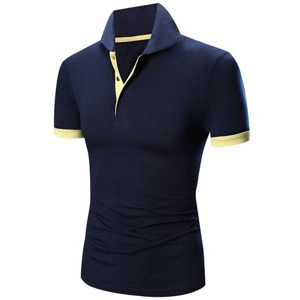 Laconic Turn down Collar Color Block Short Sleeves Polo T Shirt For... ($15) ❤ liked on Polyvore featuring men's fashion, men's clothing, men's shirts, mens short sleeve shirts, mens polo shirts, polo mens clothing, mens color block shirt and mens short sleeve polo shirts