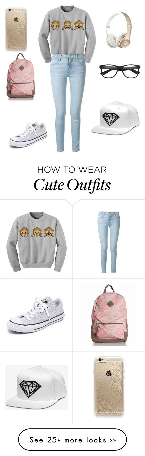 """""""Nerdy girl outfit"""" by mjbouldt on Polyvore featuring Frame Denim, Converse and Rifle Paper Co"""