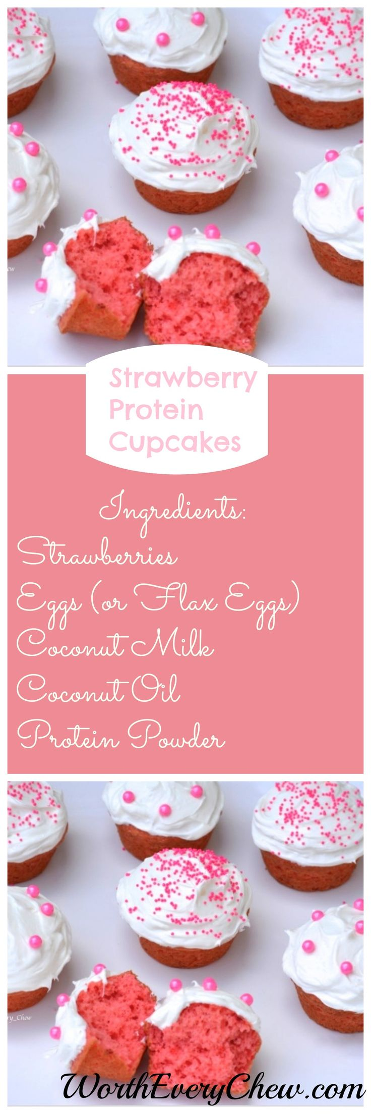 Strawberry Protein Cupcakes.....These are almost too pretty to eat!