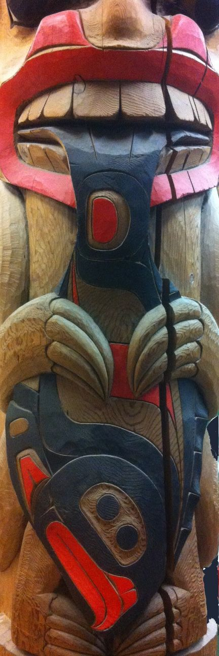 Bear and Halibut totem pole Hills Native Art