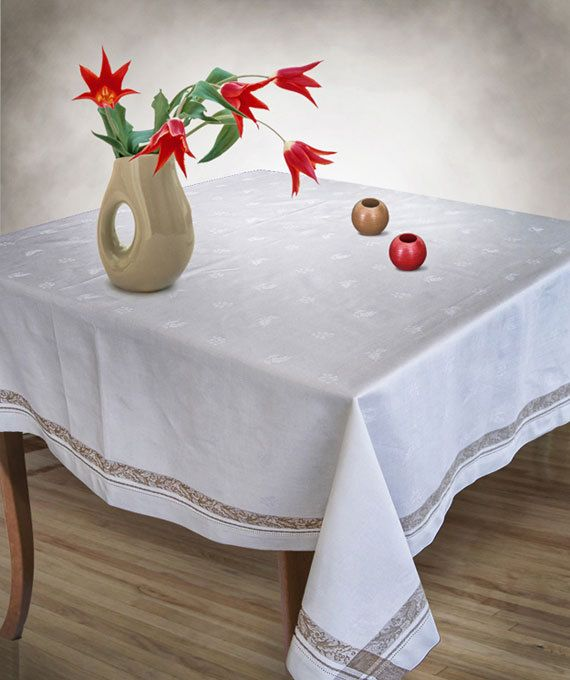 Wide 70  White tablecloth Golden Leaves