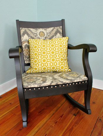 love the rocker...Rocking chair makeover.  @Sarah Bellamy I can envision white paint and different fabric.