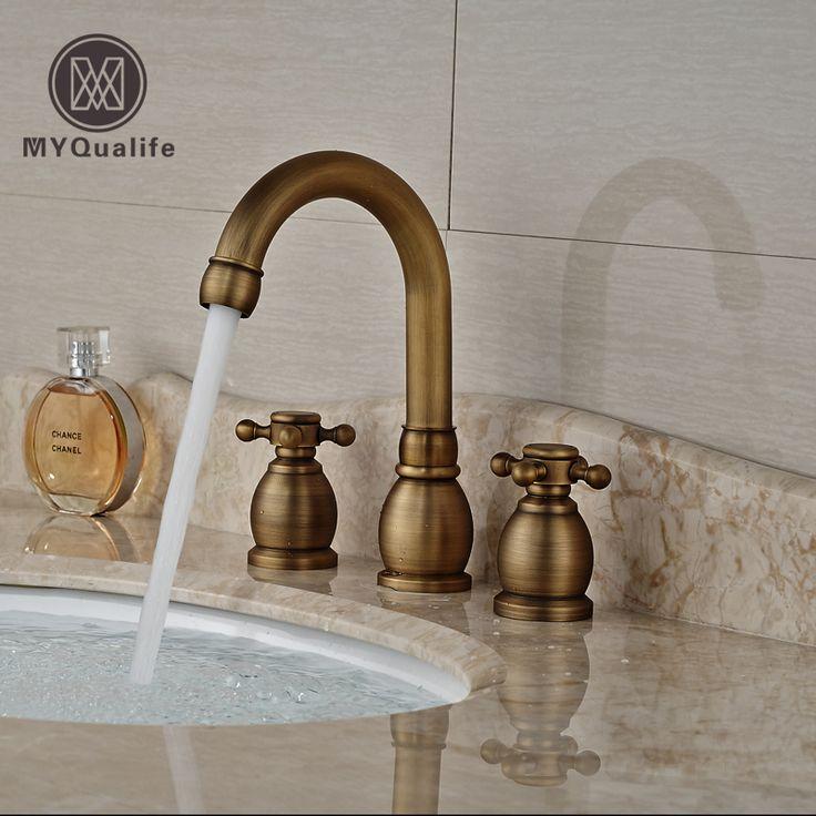 >> Click to Buy << Antique Brass Dual Handle Basin Faucet Widespread 3 Hole Bathroom Mixer Taps Deck Mount #Affiliate