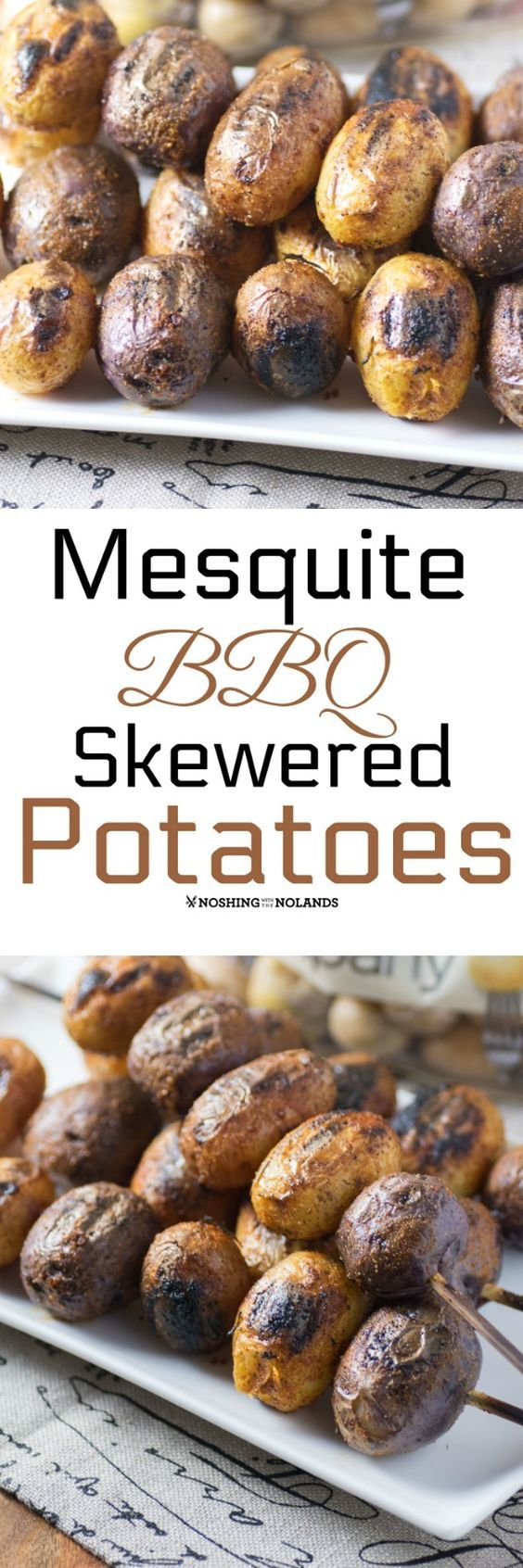 Mesquite BBQ Skewered Potatoes by Noshing With The Nolands makes for a delicious side dish with their delectable smoky flavor! #ad