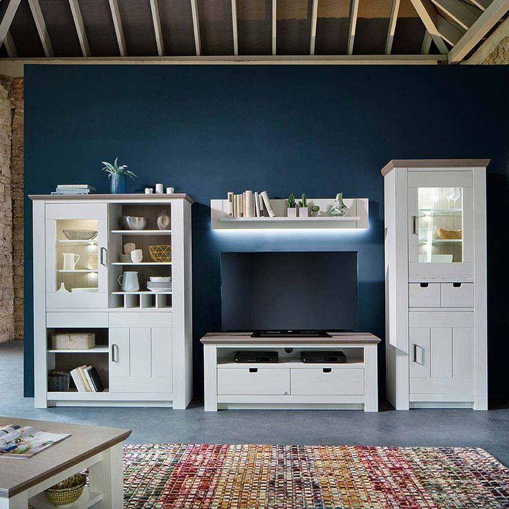 Wohnzimmer Anbauwand im skandinavischen Design Kiefer Weiß ...