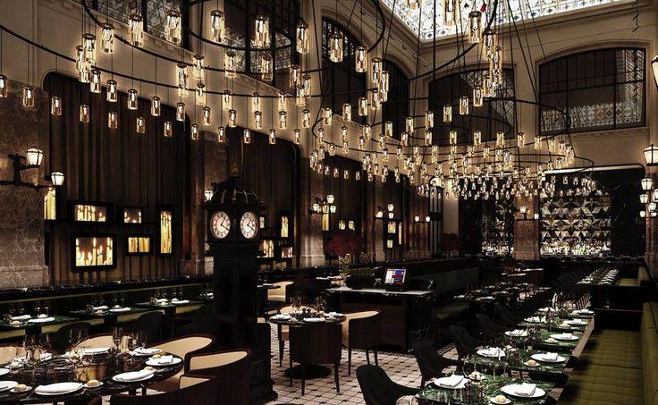 Special Cirio hanging lamp designed by Antoni Arola at The Dutches Restaurant, Amsterdam. Image via Estudi Arola
