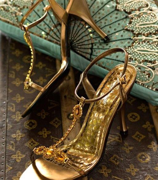 BRONZE SANDALS    Bronze sandals with bronze crystals and a 4 inch heel.