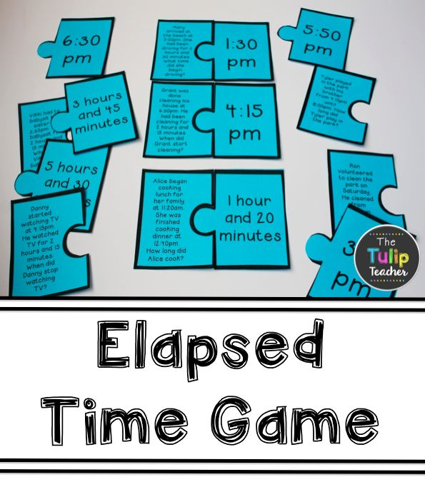 Elapsed Tim Game - puzzle pieces cover start time, end time, and elapsed time with word problems. Great for centers, morning work, and guided math.