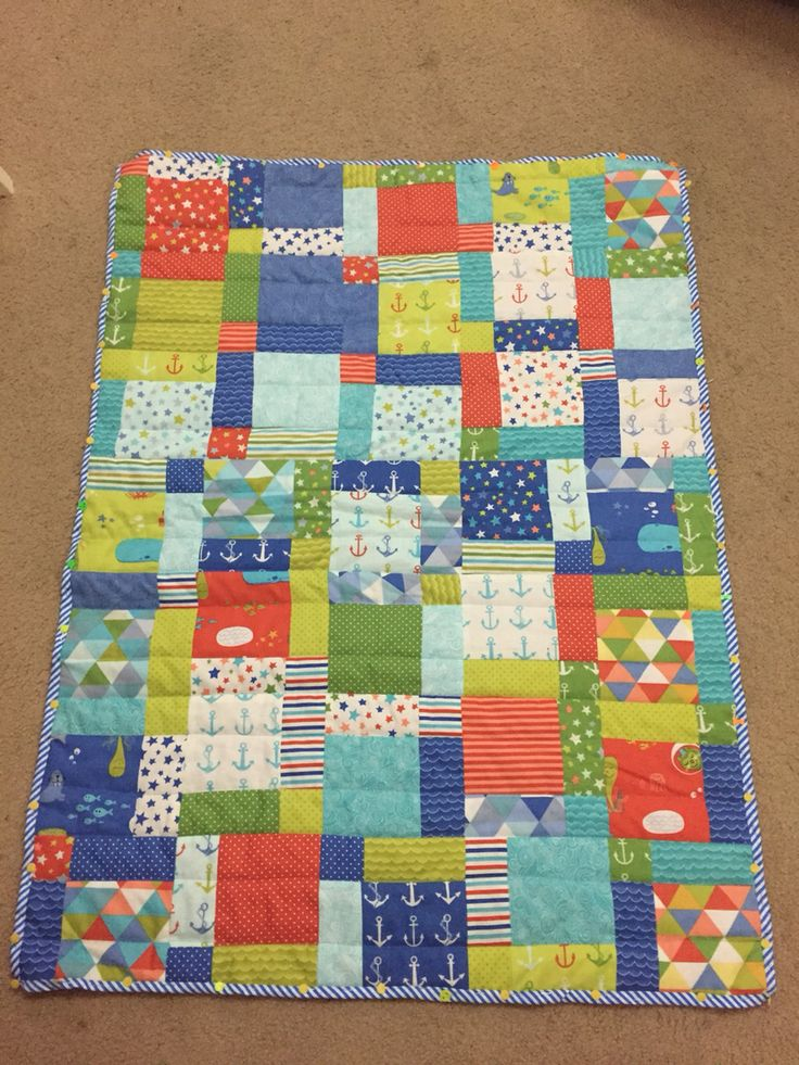 Boys quilt from moda bartholomeows reef fabric quilting for Boy quilt fabric