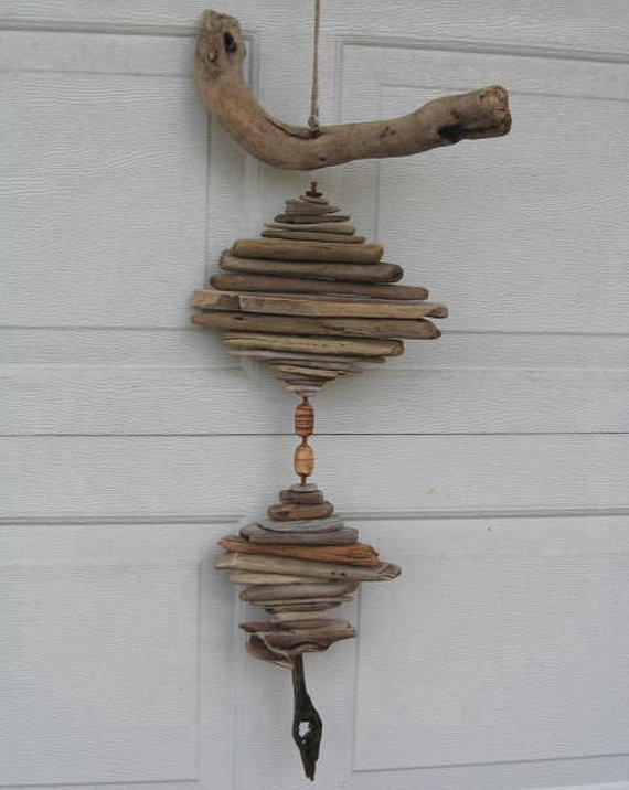Driftwood Mobile With Beads DC274 by BeacheryDesigns on Etsy, $26.50