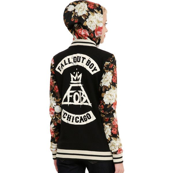 Fall Out Boy Floral Girls Varsity Hoodie Hot Topic ($55) ❤ liked on Polyvore featuring jackets