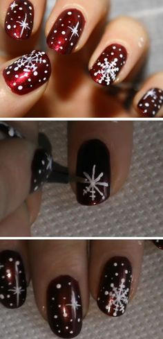Christmas sowflakes | Click Pic for 27 DIY Christmas Nail Art Ideas for Short Nails | Easy Nail Designs Step by Step