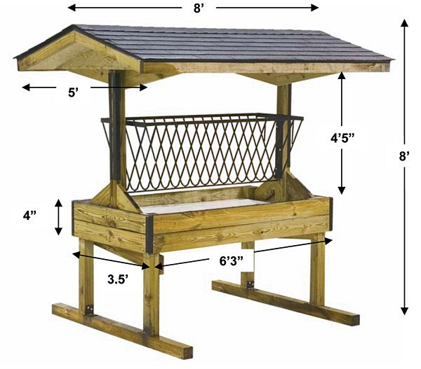 """Quality Amish-Made Hay Feeders - this would be good if it was more of a """"slow feeder"""" and a bit lower for more natural grazing."""