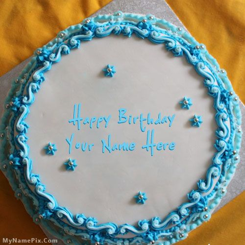 Online Write Your Name On Best Blue Floral Birthday Cake