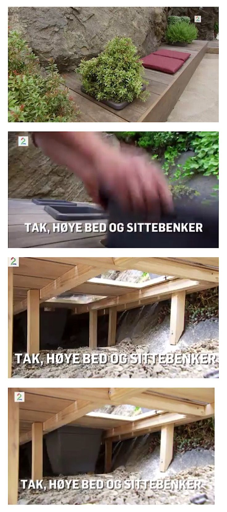 Fra Tid for hjem og hage på TV2, episode om terasse, høye, innbygde bed med sitteplass, tak på terassen, plantebelysning
