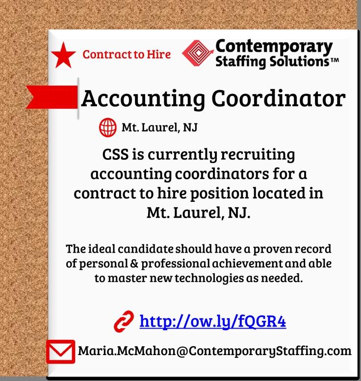 CSS is hiring Accounting Coordinators in Mt. Laurel, NJ