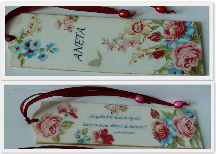 zakładka do książki z motywem róż, personalizowana