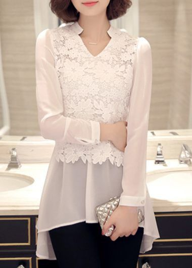 White Long Sleeve Lace Panel Chiffon Tunic Blouse