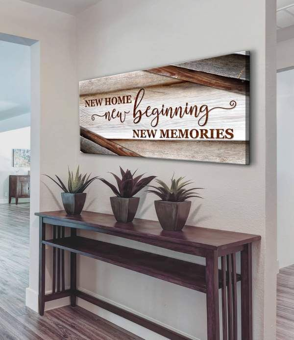 Home Wall Art New Home New Beginning V15 Wood Frame Ready To Hang In 2020 Home Wall Art Wall Decor Bedroom Wall Decor Living Room