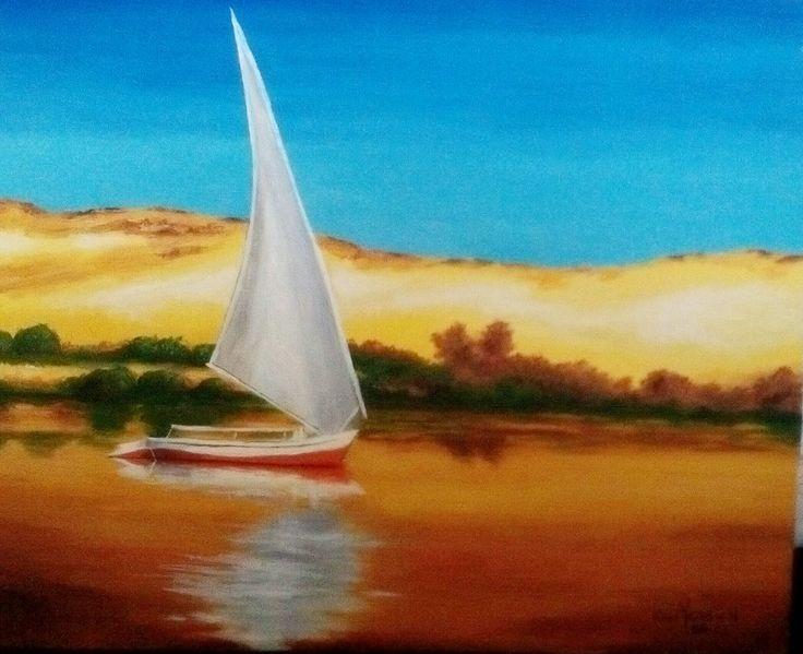 Felouque sur le nil peinture l 39 huile christine monsion - Pinterest peinture a l huile ...