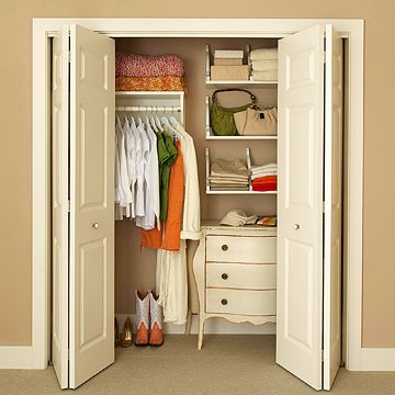 bhg/ make an ordinary closet into something special by adding a few selves, a dresser and maybe a hook here and there. Use your imagination- the sky is the limit. My favorite place for bins, hooks, and storage units it Bed, Bath and Beyond. They have great sales and a 5 dollar off coupon for every 25 you spend, in every circular.