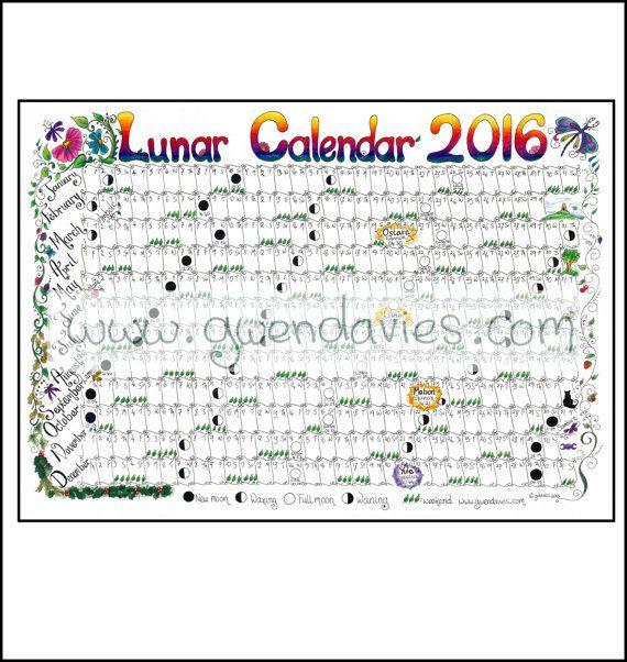 Calendrier téléchargeable lunaire lune 2016  A4 par gwendaviesart