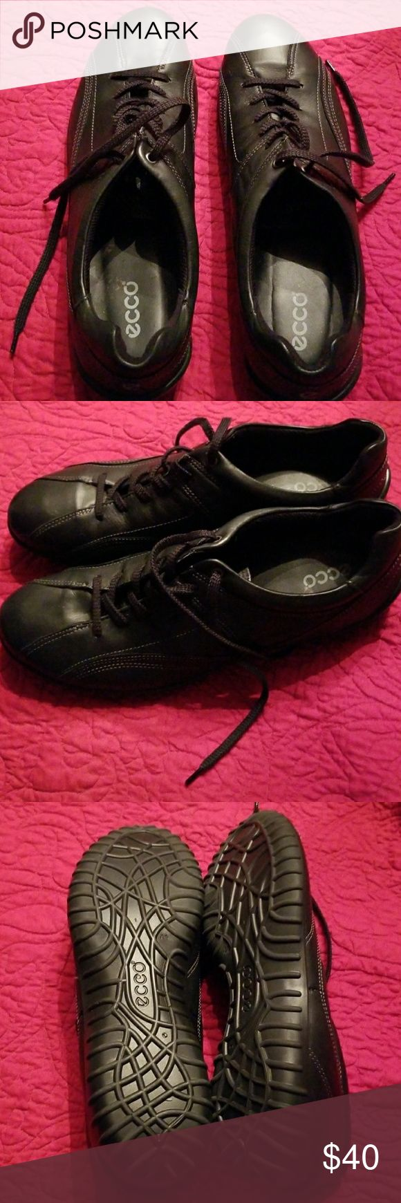 Like New Ecco Charm Black Leather Shoes This is a pair of Like New Ecco Charm Black Leather Shoes that lace up. Even the black shoe laces look unused. My mom bought them for comfort, along with 3-4 other pairs and then wasn't able to wear them. They have some top stitching which adds a little more style and so they are good with casual and dress pants. Great if you are on your feet a lot!  She wore 9 1/2 Slim in most shoes, and these are like a Size 10. Made in Slovakia, Ecco shoes are…